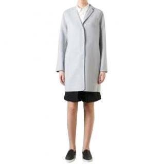 MaxMara unlined pale blue wool and angora coat