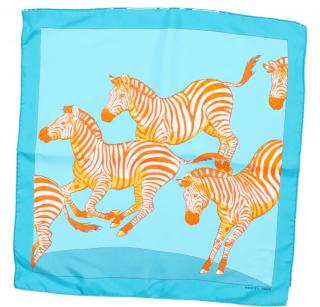 Hermes turquoise and orange zebra silk square scarf
