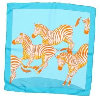 Hermes turquoise and orange zebra silk square scarf