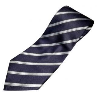 Giorgio Armani navy striped silk tie