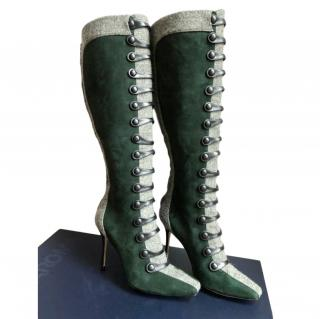 Manolo Blank press piece green suede and tweed Montana boots