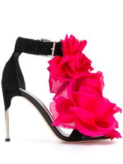 Alexander McQueen rose applique sandals