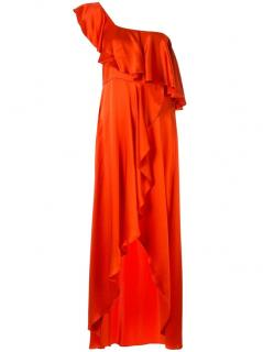 Alexis red silk one shoulder gown