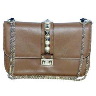 Valentino medium brown Glam Lock Rockstud flap bag