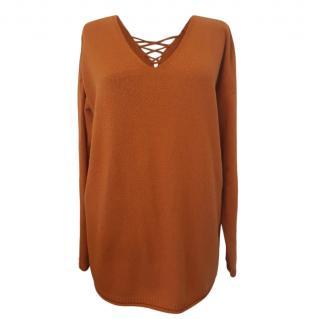 MaxMara rust wool lace up neckline jumper