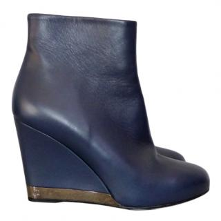 Chanel blue lambskin wedge ankle booties