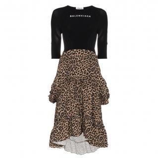 Balenciaga runway tech finer and leopard print dress