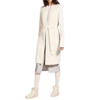 MaxMara winter white wool and cashmere sleeveless wrap cardigan