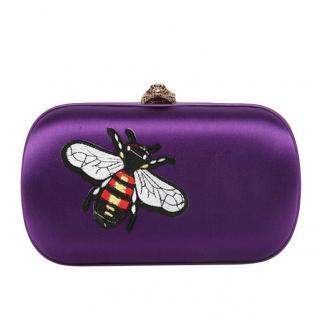 Gucci Purple Satin Animalier Broadway Box Clutch