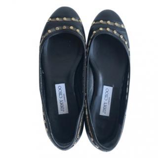 Jimmy Choo Black Rockstud Ballerina Flats