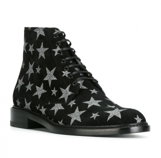 Saint Laurent Lolita Star-print Suede Ankle Boots