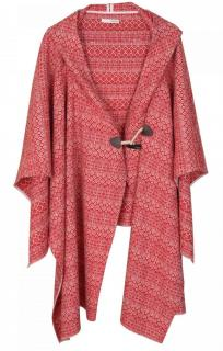 Ba&Sh Aztec Print Hooded Wool Duffle Cape