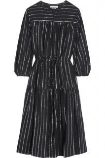 Isabel Marant Etoile Metallic Knit Striped Midi Dress