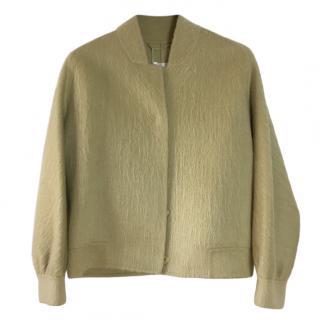 Max Mara Sage Angora Wool Bomber Jacket