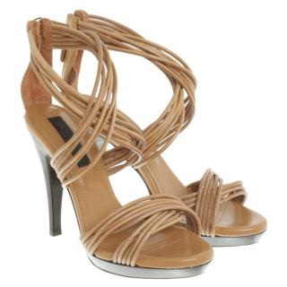 Burberry light brown leather zip closure sandals