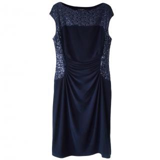 Lauren Ralph Lauren navy sequin ruched dress