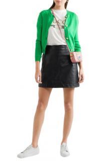 Miu Miu peral buttoned green cashmere cardigan