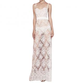 I.D Sorrier white sheer lace one of a kind dress