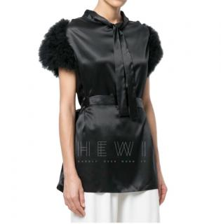 Maguy de Chadirac black marabou feather trimmed top