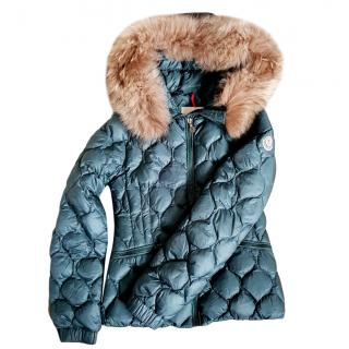 Moncler green hooded girl's jacket with fur trim