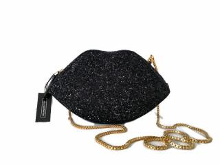 Lulu Guiness black Cupid's Bow clutch/cross body bag