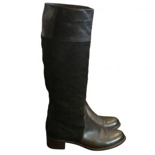 Casadei long flat leather knee boots