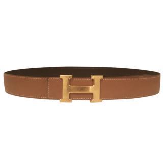 Hermes Constance H reversible black/tan belt size 85