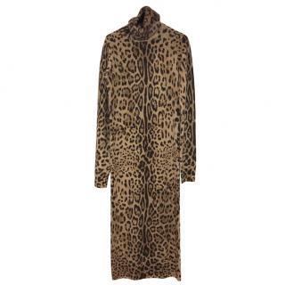 Dolce & Gabbana leopard print cashmere midi dress