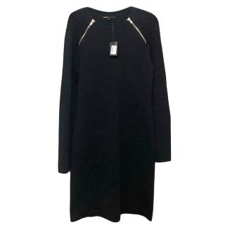 Maje marine blue knitted zip detail mini dress
