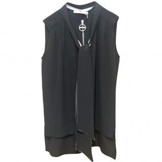 Givenchy black silk crepe zip fastening top
