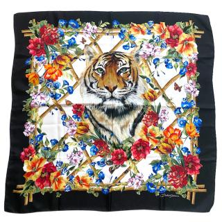 Dolce & Gabbana Tiger/floral lattice print silk scarf