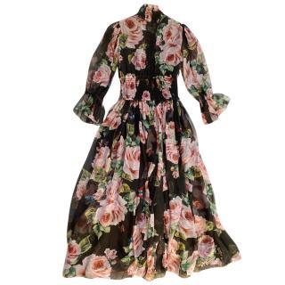 Dolce & Gabbana rose printed silk runway dress