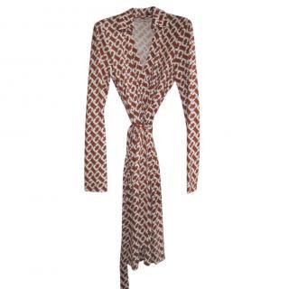DVF Jeanne Two cinnamon chainlink print wrap dress