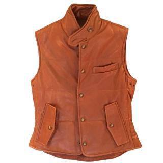 Ralph Lauren padded tan leather gilet
