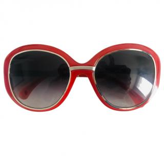 Chanel red acetate sunglasses