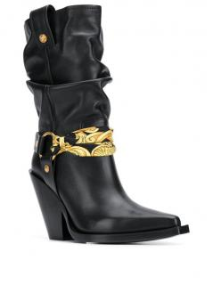 Versace bandana buckle cowboy boots.