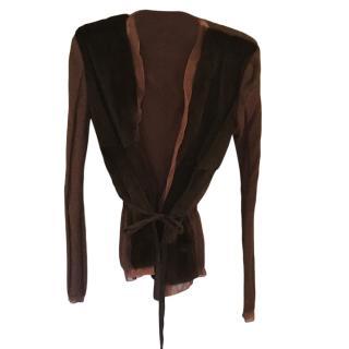 Prada brown fur/cashmere and chiffon cardigan