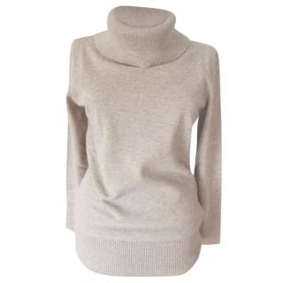 MaxMara beige cashmere roll neck jumper