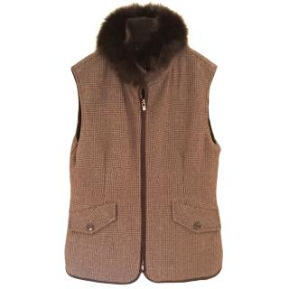 Loro Piana brown cashmere Prince of Wales check gilet with fox collar.