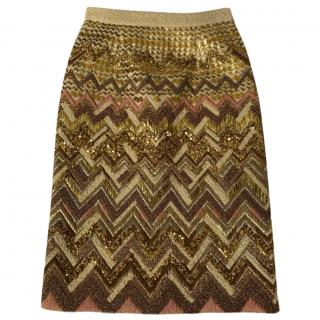Mulberry Embellished Wool Pencil Skirt