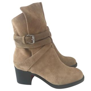 Christian Louboutin Karistrap camel suede ankle boots