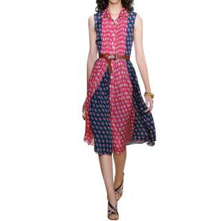 Diane Von Furstenberg Nieves Pleated Chiffon Shirt Dress