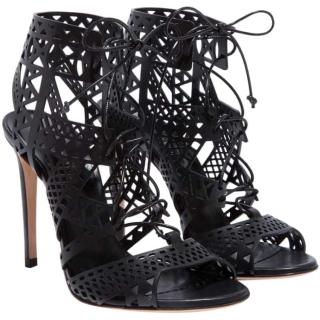 Casadei Black Lasercut Sandals