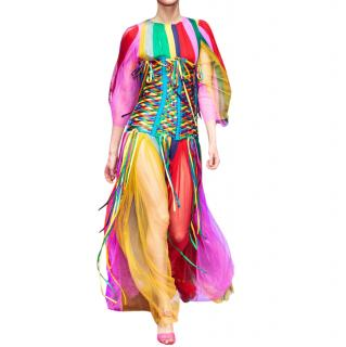 Dolce & Gabbana Rainbow Striped Silk Chiffon Runway Gown