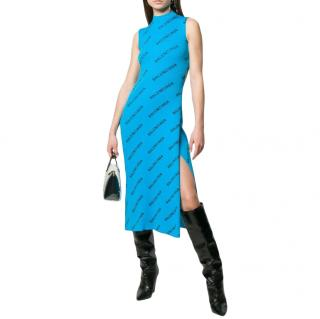 Balenciaga Turquoise Logo Sleeveless Knit Dress