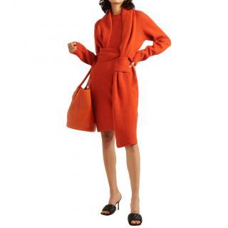 Bottega Veneta Belted Red Wool Dress - New Season