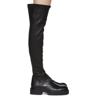 Ann Demeulemeester Black Over-The-Knee Combat Boots