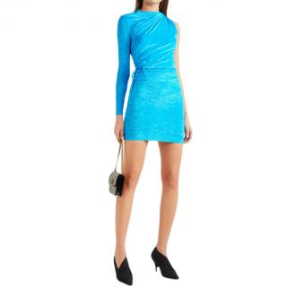 Balenciaga Crushed Velvet Turquoise One-Shoulder Mini Dress
