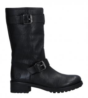 Tory Burch Black Leather Biker Boots