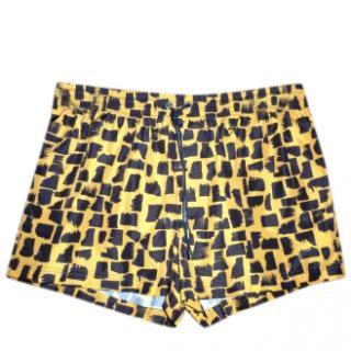 Dolce & Gabbana Men's Yellow & Black Printed Swim Shorts